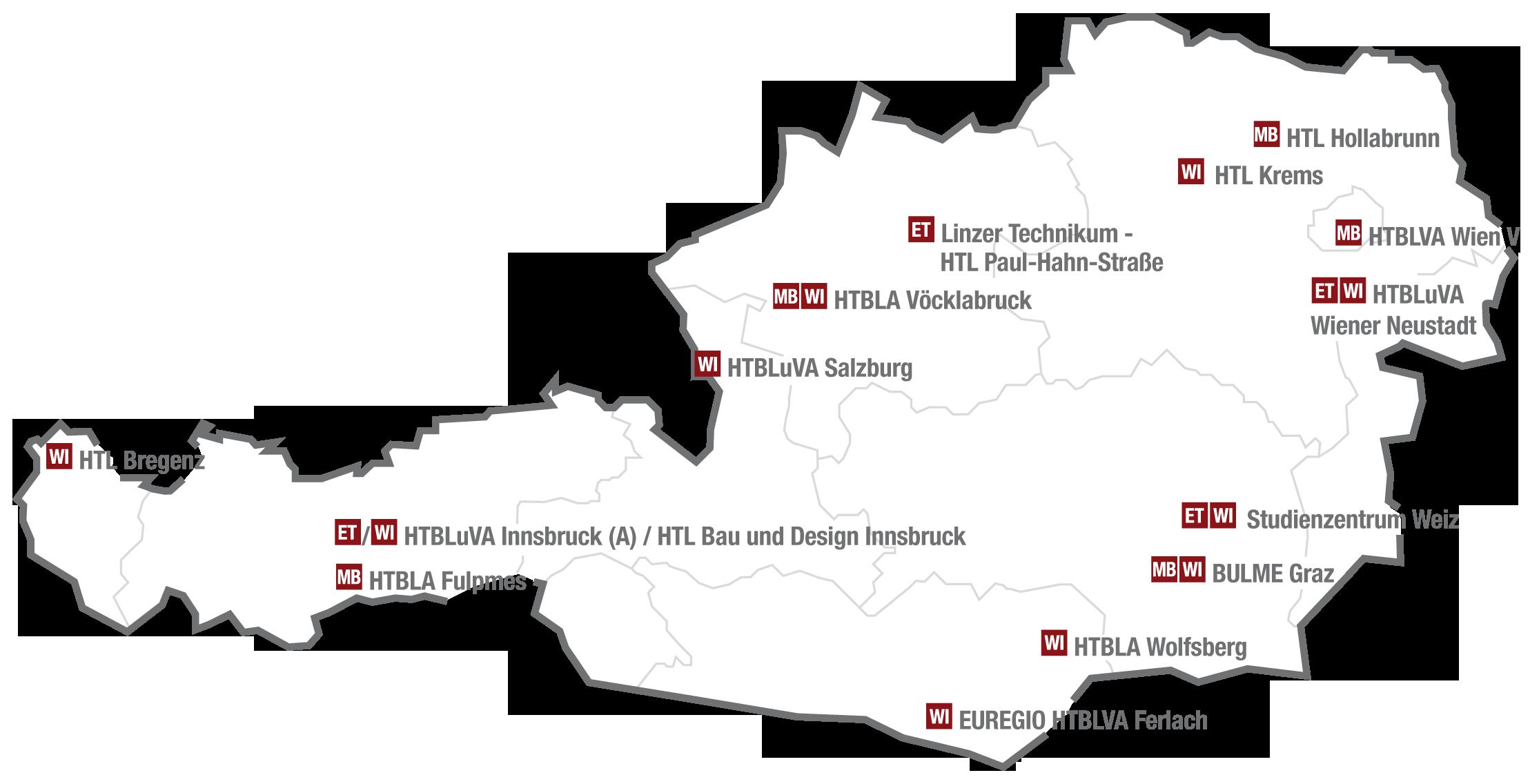 15 Studienstandorte in Österreich